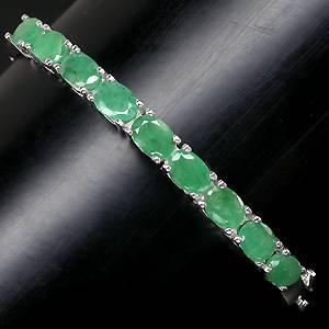 bracelete de prata 925 com esmeraldas de zambia naturais