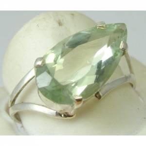 Anel de Prata 950 com Prasiolita Verde Gota Natural