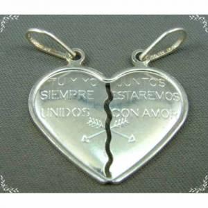 Pingente de Prata 925 em Formato de Coração