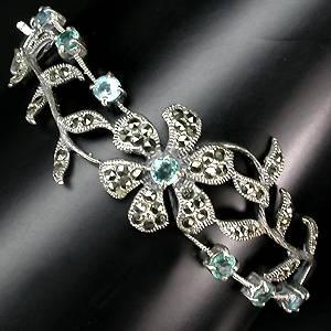 Bracelete Floral de Prata 925 com Apatitas Top e Marcassitas Naturais
