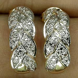 Brincos de Ouro Amarelo e Branco 14 k Plated (Prata 925) com 02 Diamantes Naturais