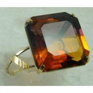 Anel de Ouro Sólido 18k com Ametrino Bicolor Quadrado