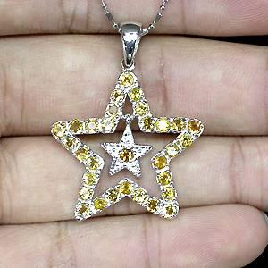 pingente estrela de prata 925 com citrinos top naturais