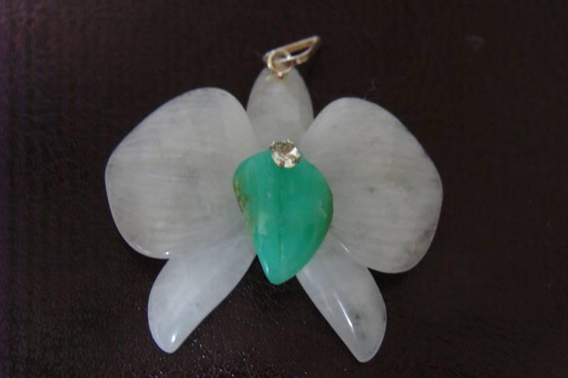 Pingente de Prata 925 com Quartzo Branco e Verde