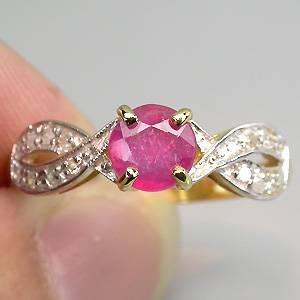 Anel de Ouro 14k Plated (Prata 925) com Rubi Africano Top e 16 Diamantes Naturais