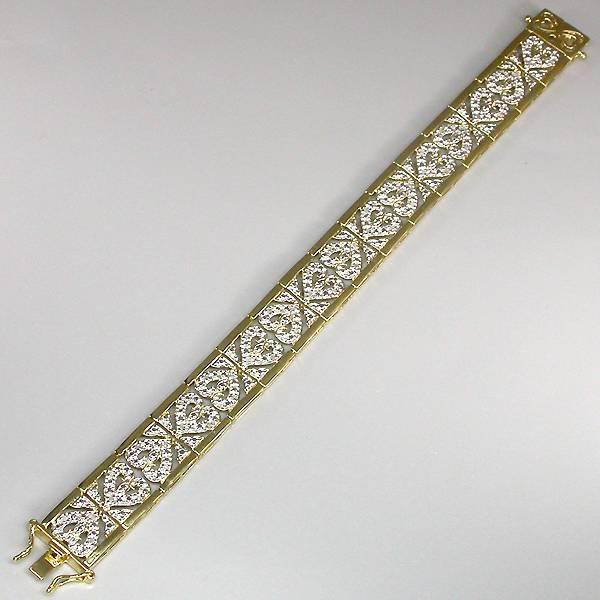 bracelete de ouro amarelo 14k prata 925 com 48 diamantes naturais