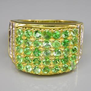 Anel de Ouro Amarelo 14 k Plated (Prata 925) com Tsavoritas e Zircônias Naturais Lapidação Diamante