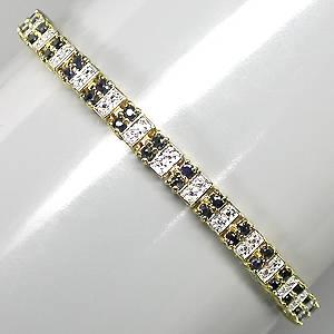 Bracelete de Ouro Amarelo e Branco 14 k (Prata 925) com Safiras e 03 Diamantes Naturais