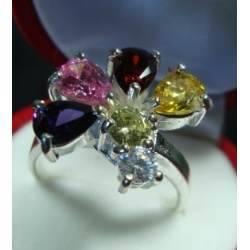 Anel de Prata  925 com Flor de Pedras Preciosas