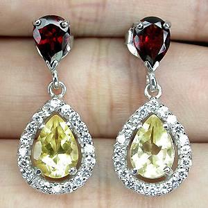 Brinco de Prata 925 com Granada Moçambique e Citrino Naturais e Zircônias Cúbicas Lapidação Diamante