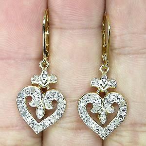 brincos de ouro 14k plated prata 925 com 24 diamantes naturais