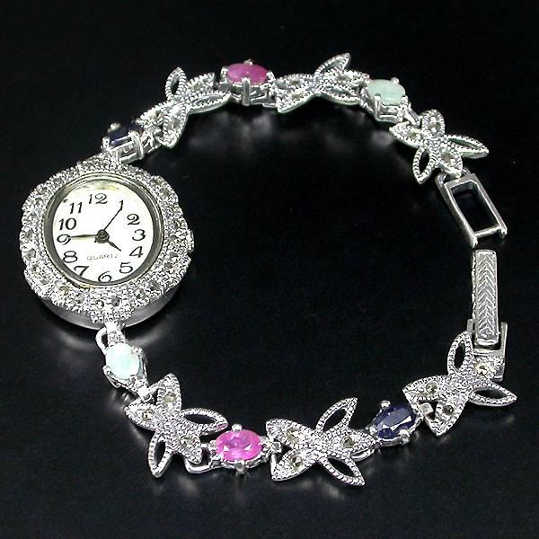 Relógio de Prata 925 com Multigemas Naturais e Mostrador de Madrepérola