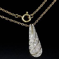 Cordão de Ouro Plated 14k com Pingente de Diamantes