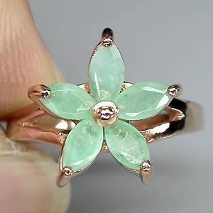 anel floral de ouro rose 14k Plated prata 925 com esmeraldas naturais