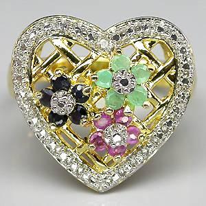 Anel de Ouro 14 k Plated Prata 925 com Rubis Safiras Esmeraldas e 01 Diamante