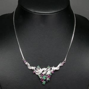 gargantilha de prata 925 com rubis safiras esmeraldas e zirconias cubicas