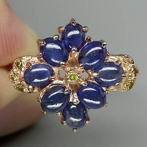 anel floral de ouro 14k plated com safiras e 07 diamantes naturais