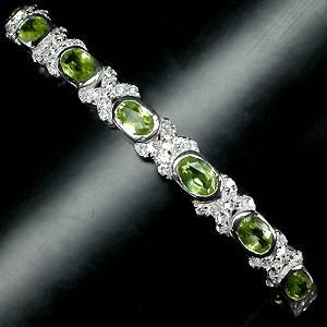 Bracelete de Prata 925 com Peridotos Naturais e Zircônias Cúbicas Lapidação Diamante
