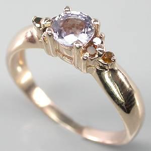 Anel de Ouro Rose 14 k Plated (Prata 925) com Raro Espinélio Púrpura e 06 Diamantes Naturais