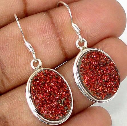 Brincos Indianos de Prata 925 com Druzas de Titânio Vermelhas Naturais