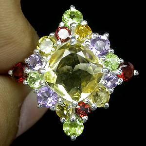 Anel de Prata 925 com Multigemas Coloridas Naturais