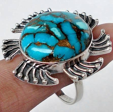 Anel de Prata 925 com Turquesa Copper Natural