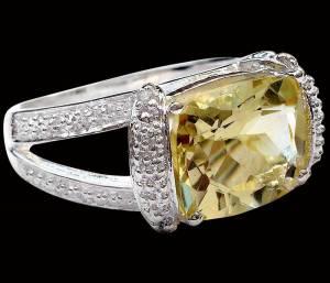 Anel de Prata 925 com Topázio Limão e 0,6 Cts de Diamantes Naturais