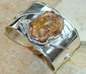 Bracelete de Prata 925 com Madeira Petrificada Opalizada Natural