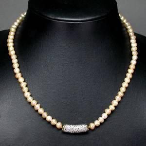 Colar de Ouro 14k Plated com Pérolas Padparadcha e 25 Diamantes Naturais