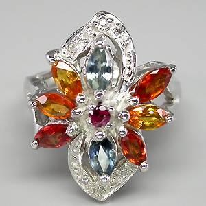 Anel Floral de Ouro Branco 14 k Plated Prata 925 com Safiras Turmalinas e 10 Diamantes Naturais