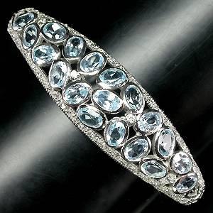 Bracelete de Prata 925 com Topazios Sky Blue Naturais e Zirconias Cubicas
