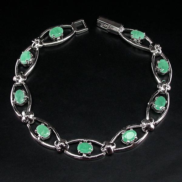 pulseira bracelete de prata 925 com esmeraldas naturais