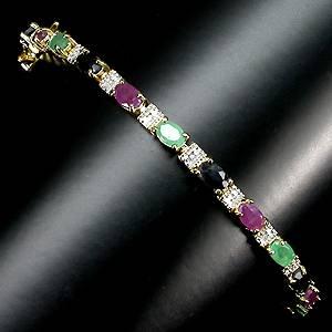 Pulseira de Ouro 14K Prata 925 com Esmeraldas Rubis Safiras e 01 Diamante Naturais
