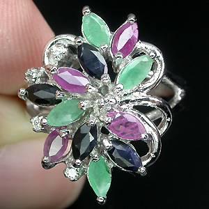 Anel Floral de Prata 925 com Esmeraldas, Rubis e Safiras Naturais e Zircônias Cúbicas