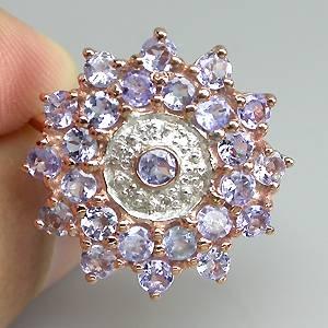 Anel de Ouro Rose 14 k Plated (Prata 925) com Tanzanitas e 06 Diamantes Naturais