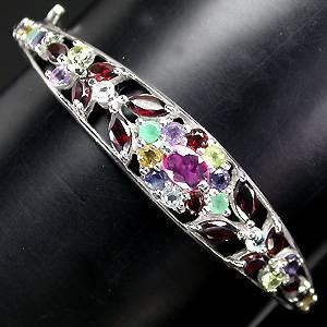 bracelete de prata 925 com ametista granada peridoto citrino topazio iolita esmeralda rubi e safira