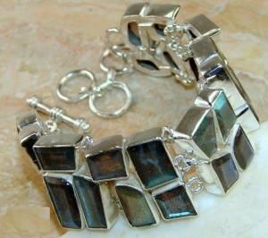 Bracelete de Prata 925 com Labradoritas Top Naturais