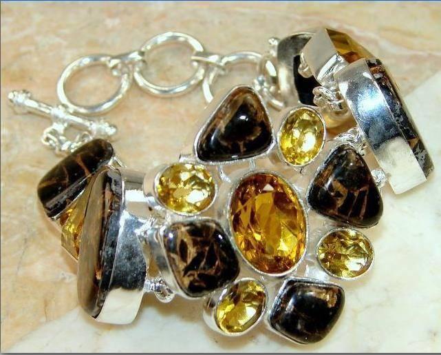 bracelete de prata 925 com marra mamba e citrinos naturais