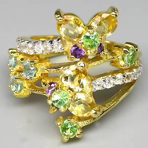 Anel de Ouro 14k Plated (Prata 925) com Multigemas Naturais Lapidação Diamante