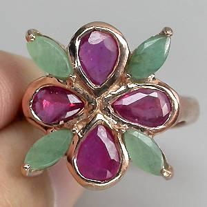 Anel Trevo de Ouro Rose 14 k Plated Prata 925 com Rubis e Esmeraldas Naturais
