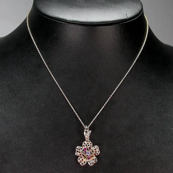 Colar de Ouro Rose 14 k Plated (Prata 925) com Pingente Floral com Multigemas Naturais