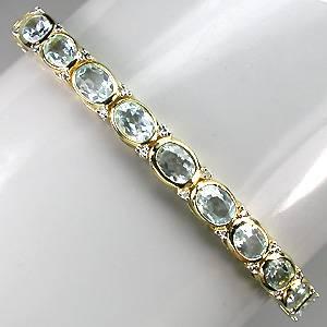 Bracelete de Ouro Amarelo e Branco 14 k (Prata 925) com Topázios Sky Blue e 02 Diamantes Naturais