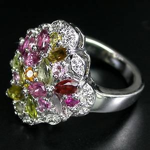 Anel Floral de Prata 925 com Turmalinas Coloridas Naturais
