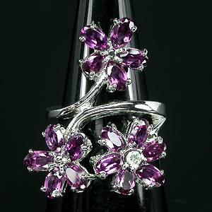 anel de prata com granadas rodolitas e zirconias