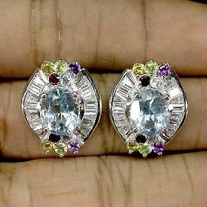 Brincos de Prata 925 com Multigemas Coloridas Naturais e Zircônias Cúbicas