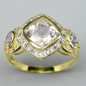 Anel de Ouro Amarelo e Branco 14 k Plated (Prata 925) com Morganita, Tanzanitas, Ametistas e 16 Diamantes Naturais