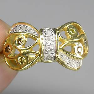 Anel de Ouro Amarelo e Branco 14 k Plated (Prata 925) 19 Diamantes Naturais