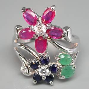 Anel de Prata 925 com Esmeraldas Rubis e Safiras Naturais e Zircônias Cúbicas Lapidação Diamante