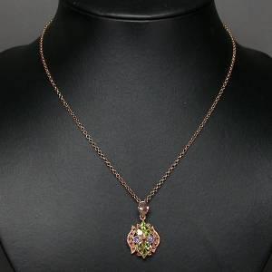 colar de ouro rose 14k plated prata 925 com tanzanitas peridotos e rubis
