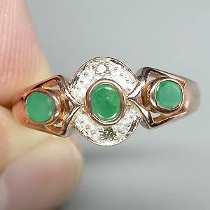 Anel de Ouro 14k Plated Prata 925 com Esmeraldas e 02 Diamantes